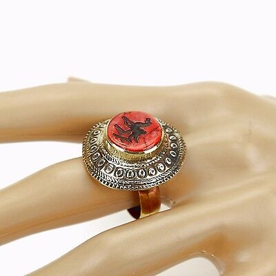 Coral RING Hand Carved Kuchi BellyDance Tribal (many sizes available) 851a5