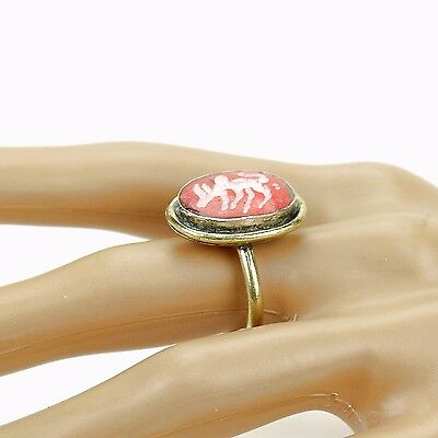 Coral RING Hand Carved Kuchi BellyDance Tribal (many sizes available) 851b2