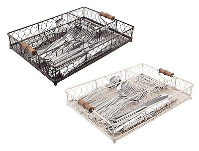 T&G Woodware Provence Cutlery Tray in Rustic Brown or Cream Wireware