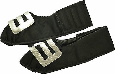 Adult Fancy Dress Shoe Covers With Silver Buckle - 29cm Front to Back (HW203)