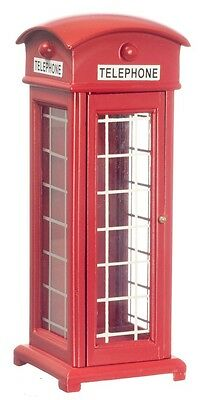 Dollhouse Miniature - Red Phone Booth English Style Wood Telephone