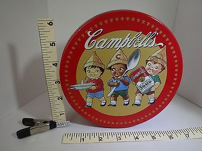 "CAMPBELLS KIDS PICTURED ON ROUND CAMPBELLS SOUP 6 1/2"""" METAL TIN 1997 A0012"
