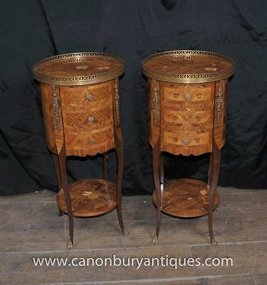 Pair French Empire Parquetry Bedside Chests Cabinets Nightstands