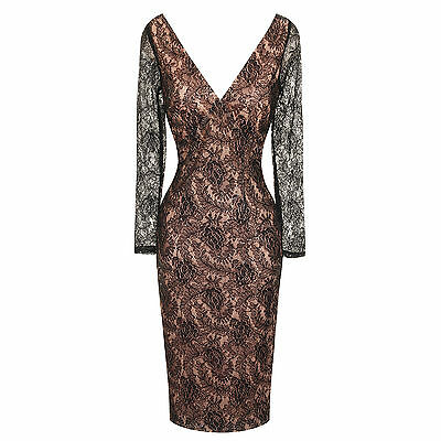 Womens Nude Lace Open Back Bodycon Fitted Evening Pencil Party Dress