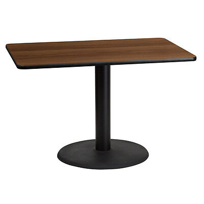 30'' X 45'' Rectangular Walnut Laminate Table Top With 24'' Round Table Ht Bases