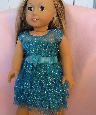 Doll Clothes Girl Aqua Sparkle Dress fits 18 Inch Doll American Seller lsful