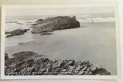 RPPC Oregon Nelscot Fishing Rocks People Beach View Ocean Circa 1939