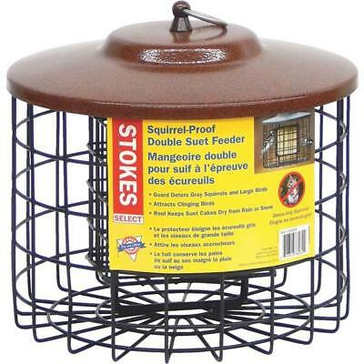 Stokes Black Metal Squirrel Proof Double Bird Seed Food Suet Feeder 38069