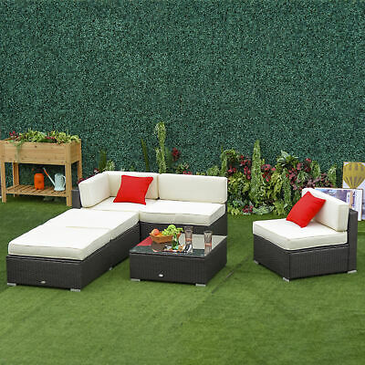 6pcs Deluxe Rattan Sofa Outdoor Wicker Sectional Set All-weather Resistant