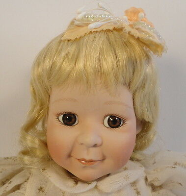 Lucky Star Porceliain Baby Doll Brown Eyes 1995 Artist Cindy McClure Ashton Drak