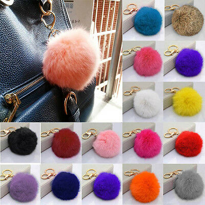 Lovely Genuine Rabbit Fur Ball PomPom Car Keychain Handbag Charm Key Ring