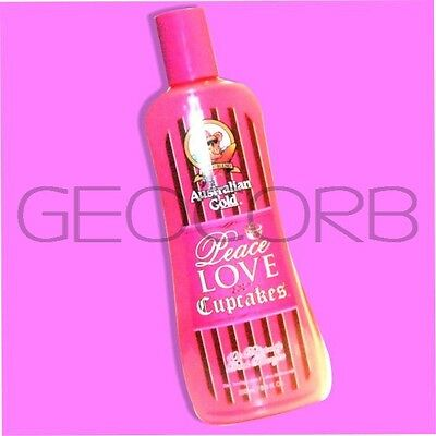 AUSTRALIAN GOLD PEACE LOVE & AND CUPCAKES 10X BRONZER INDOOR TANNING BED LOTION