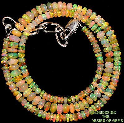 "46 Crt 1 Strand 3.5 mm to 5.5 mm 17 "" Natural Ethiopian Opal Gemstone Bead 2628"