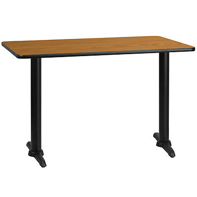 30'' X 48'' Rectangular Natural Laminate Table Top W/ 5'' X 22'' Table Ht Bases