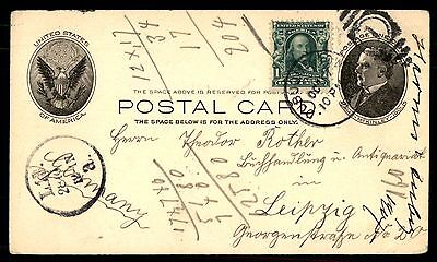 DUBUQUE IOWA OCT 17 1904 US MCKINLEY ISSUE CARD TO GERMANY