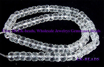 Wholesale Natural Rock Crystal Clear Quartz Faceted Rondelle Loose Beads 4x6mm