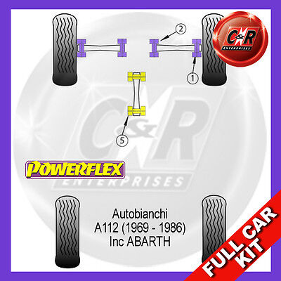 AUTOBIANCHI A112 (69-86) Inc ABARTH Powerflex Complete Bush Kit