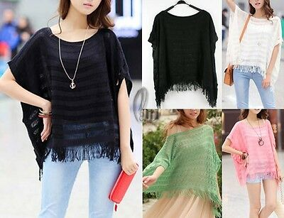 WHOLESALE BULK LOT OF 10 MIXED COLOUR Hollow Knit Poncho Sweater Top T109