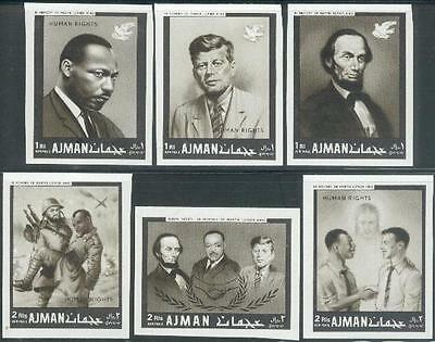 Ajman 1968 ** Mi.289/94 B Kennedy JFK Luther King Lincoln
