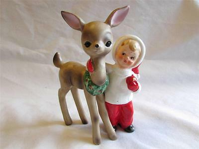 Vintage Christmas Josef Originals Ceramic Boy Feeding Reindeer 1950's Japan