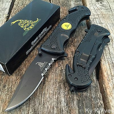 DON'T TREAD ON ME Spring Assisted Opening Tactical BLACK Rescue Pocket Knife