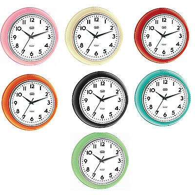 Trevi Retro Wall Clock Silent Sweep 24.5cm 7 Colours Available  FREE DELIVERY