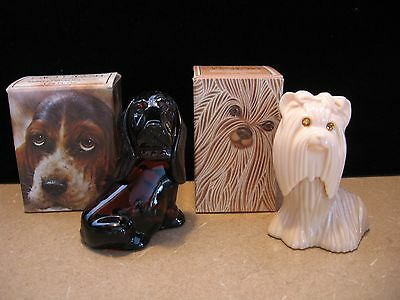 Vintage Avon Cologne / Perfume Decanters Lot of 2 - Dogs Basset & Yorkie FULL