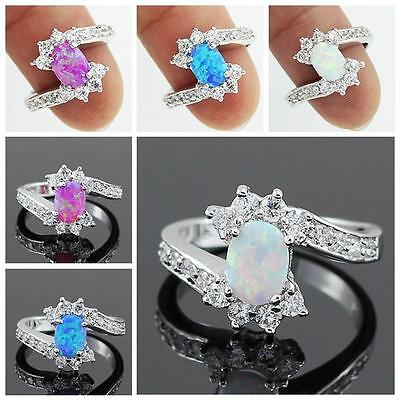 Blue Pink White Fire Opal CZ Women Jewelry Silver Plated Ring Sz 7 8 RJ19