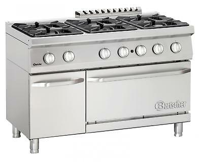 Bartscher 2852361 - Gas stove, 6 burners with gas oven 2/1 GN Series 700