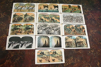 Vintage WWI Colored Combat War Military Stereoviews Lot of 13 British, Germany