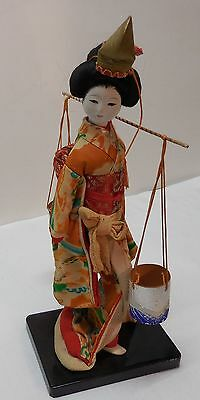 Vintage Japanese Wooden Geisha Girl on Stand Wearing Kimono and Hat Buckets