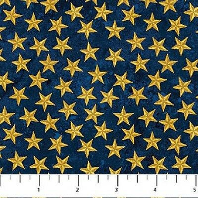 Blue Gold Stars Land of the Free Stonehenge Quilt Fabric by the 1/2 yard