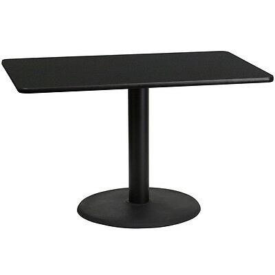 30'' X 48'' Rectangular Black Laminate Table Top With 24'' Round Table Ht Base