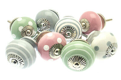 8 x Shabby Chic Mixed 'Pastels' Ceramic Cupboard Knobs Drawer Kitchen (MG-214A)