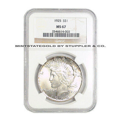 1925 $1 Peace NGC MS67 Gem graded Philadelphia Silver Dollar coin ONLY 1 higher