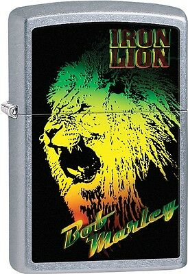 Zippo 2015 Bob Marley Green Yellow And Red Iron Lion Street Chrome Lighter 28844
