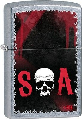 Zippo 2015 Red & Black Sons of Anarchy Skull SAMCRO Street Chrome Lighter 28836