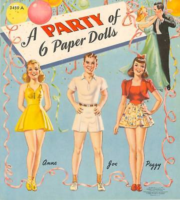 Vintage Uncut 1940S Party Of 6 Paper Dolls Cute Hd~Laser Reproduction~Lo Pric