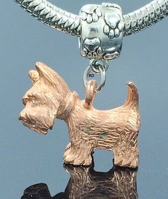 Westie Dog  Lovers  Charm on Paw Print Slider Bead for Bracelet OR Necklace