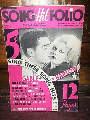 1934 SONG HIT FOLIO MAGAZINE VOL. 1, NO. 6 WITH CLARK GABLE/JEAN HARLOW COVER