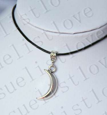 Moon Crescent Charm Pendant Choker Necklace with Black Genuine Leather Cord