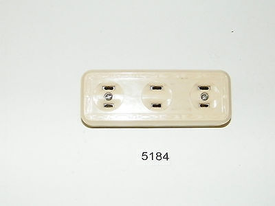 Bakelite Ivory 3 Terminal Wall Outlet