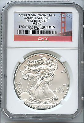 2012-S $1 Silver Eagle NGC MS 69 Early Releases  Golden Gate Bridge