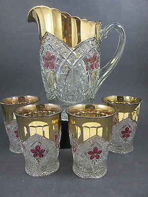 EAPG Indiana Glass FLOWER MEDALLION Water Set Pitcher Tumblers  Ca 1913