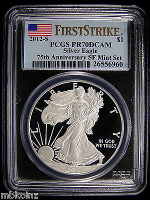 2012-S 75TH ANNIVERSARY AMERICAN SILVER EAGLE PROOF PCGS PR70 First Strike