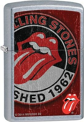 Zippo Rolling Stones Logo On Rugged Distressed Color Street Chrome Lighter 28843