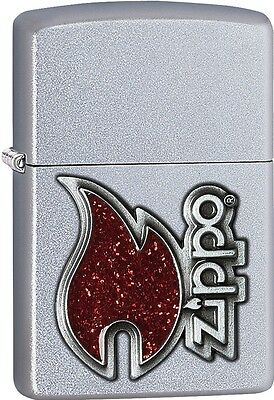 Zippo 2015 Catalog The Red Flame Emblem Satin Chrome Finish Lighter 28847 *NEW*