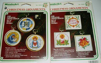 2 Sets Christmas Ornaments & frames Counted Cross Stitch Kits