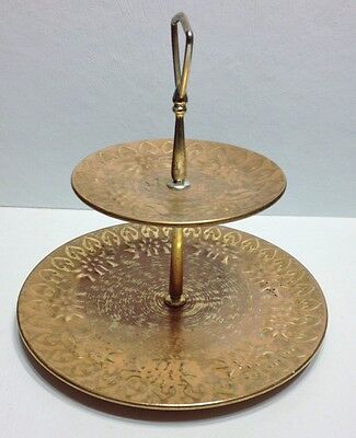 Stangl Art Pottery Granada Gold Tidbit Tray 2 Tiered Serving Plate Handle