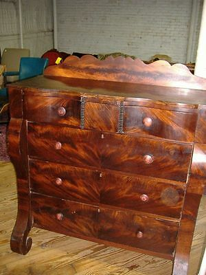 Period Empire Flame Mahogany Tall High Chest Dresser Antique Vintage Early